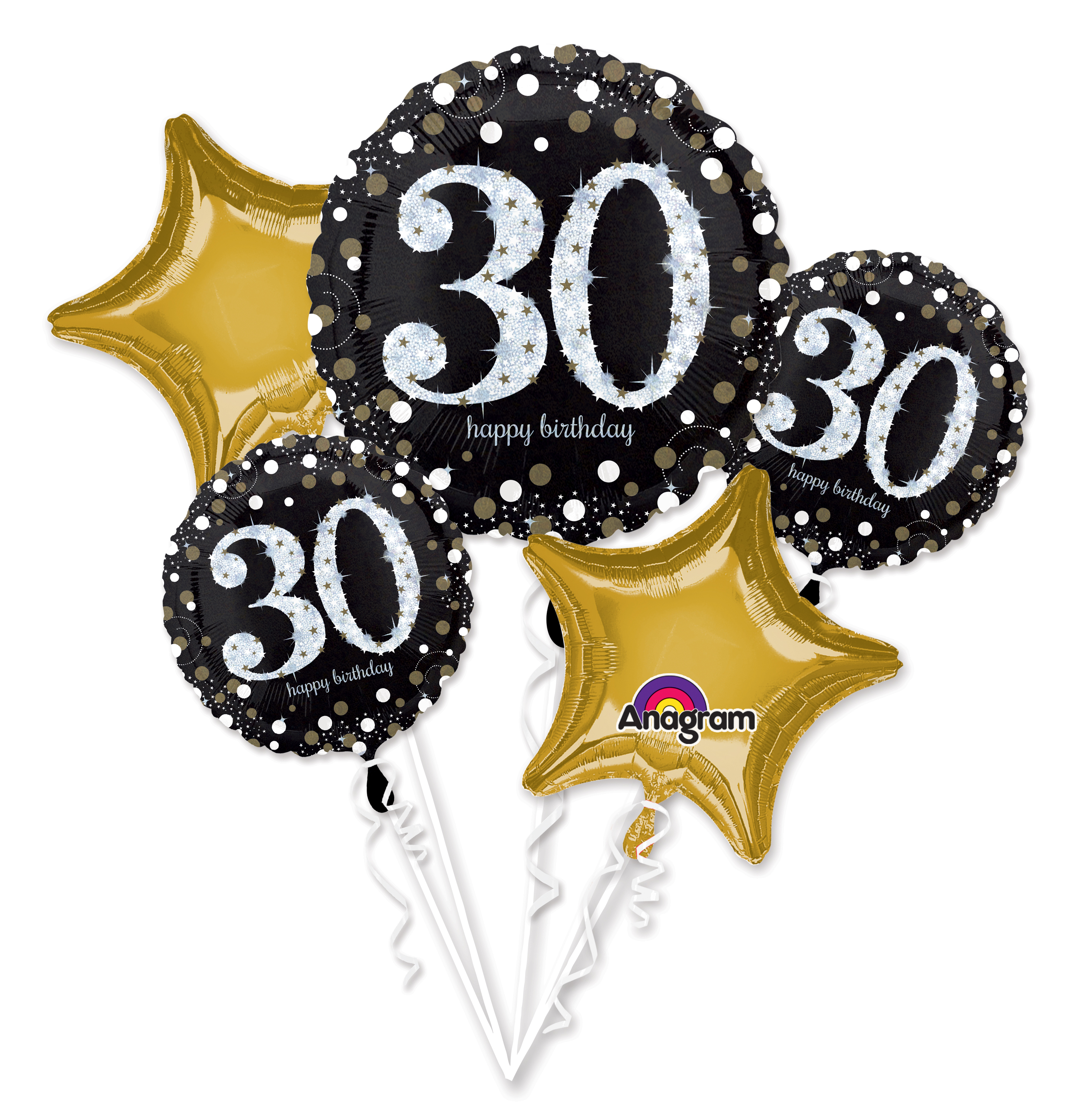 Bouquet Sparkling Birthday 30 Balloon Packaged