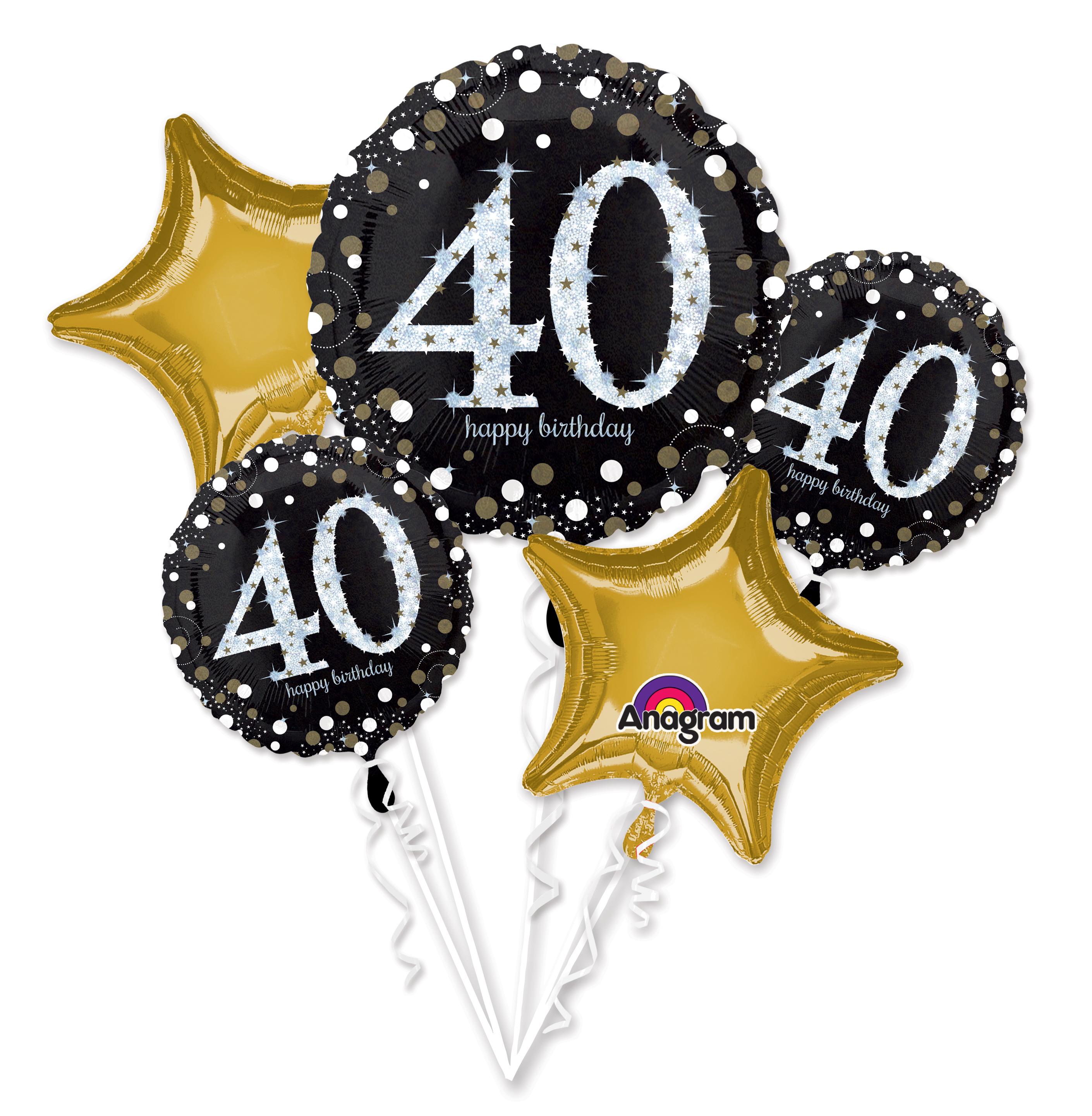 Bouquet Sparkling Birthday 40 Balloon Packaged