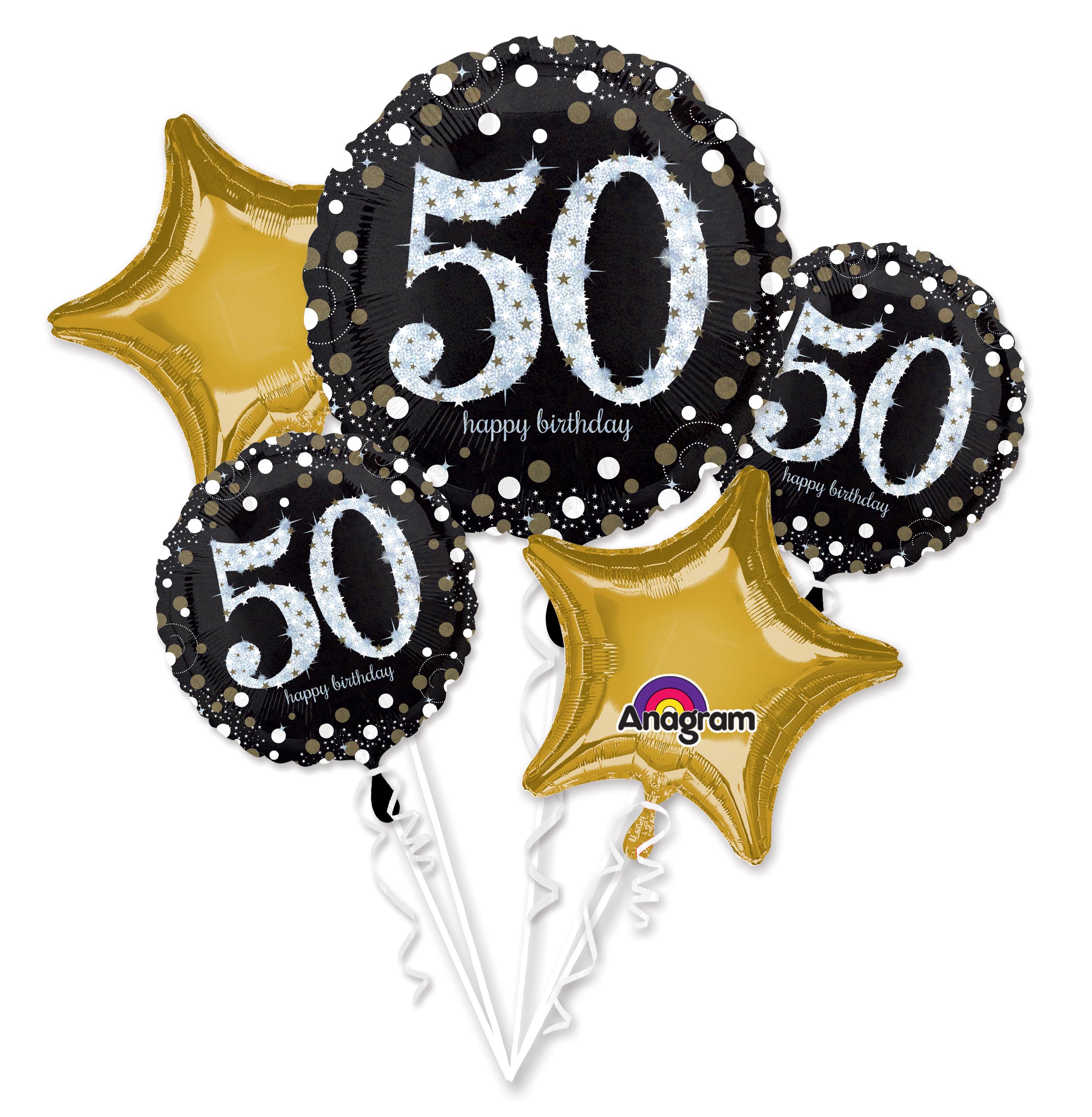 Bouquet Sparkling Birthday 50 Balloon Packaged