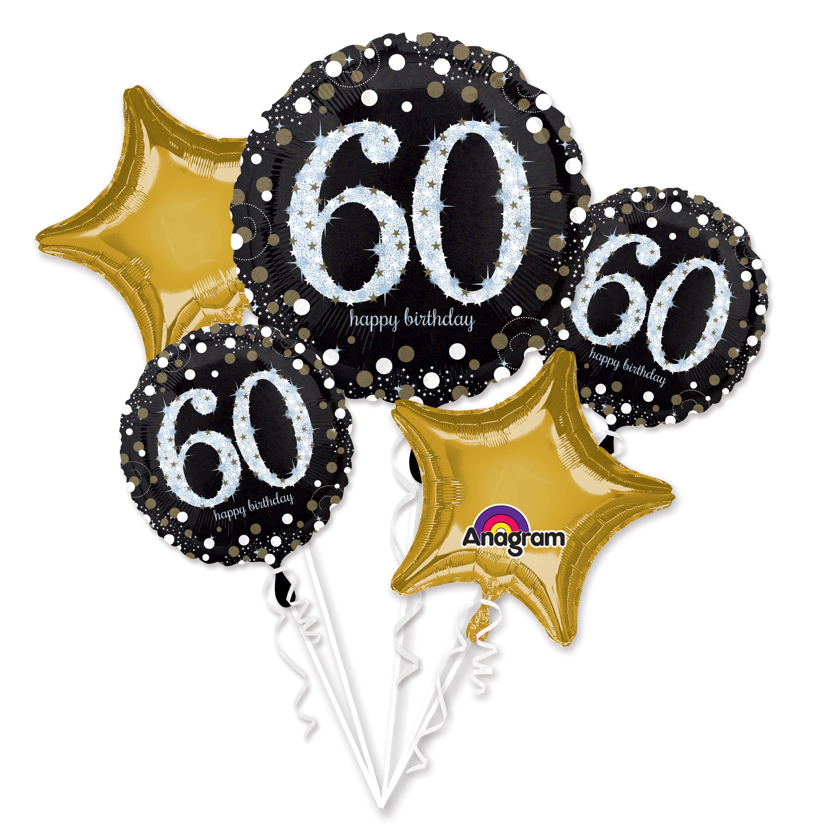 Bouquet Sparkling Birthday 60 Balloon Packaged