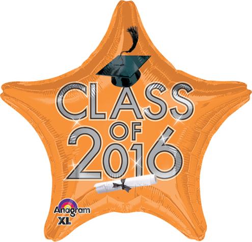 """18"""" Class of 2016 - Orange Balloon"""