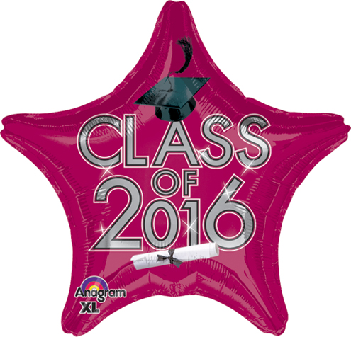 "18"" Class of 2016 - Red/Burgundy Balloon"