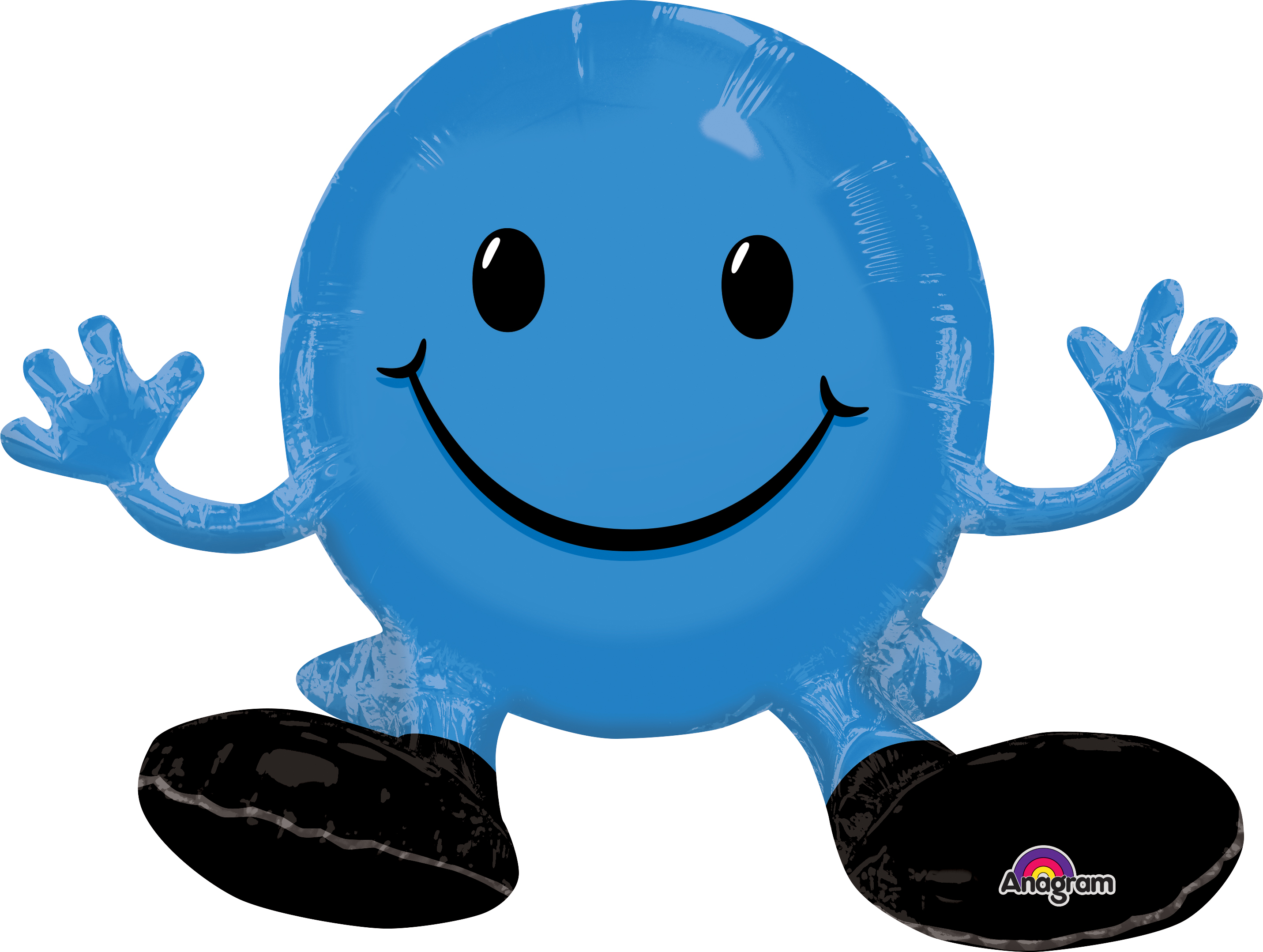 """19"""" Airfill Only Happy Face Blue Balloon Packaged"""