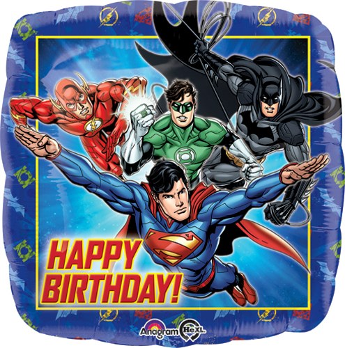 """18"""" Justice League Happy Birthday Balloon Packaged"""