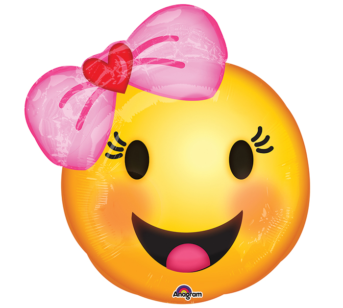 """18"""" Happy Emoji wtih Bow Balloon Packaged"""