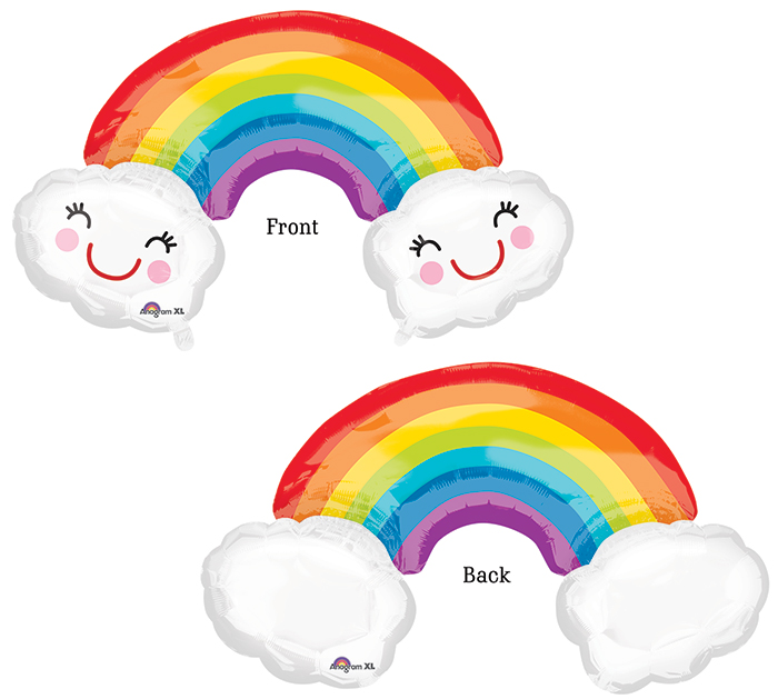 """37"""" Jumbo Rainbow With Clouds Balloon Packaged"""