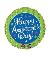 """18"""" Assistant's Day Green & Blue Balloon Packaged"""