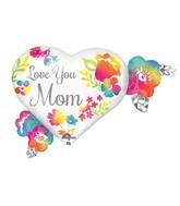 "27"" Jumbo Love You Mom Watercolor Balloon Packaged"