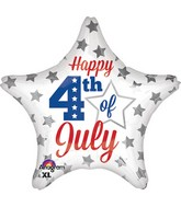 """18"""" 4th of July Silver Stars Balloon"""