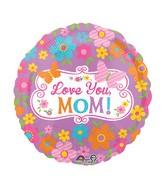 "28"" Jumbo Love Mom Flowers & Butterflies Balloon Packaged"