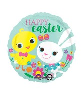 """18"""" Easter Playful Chick & Bunny Balloon"""