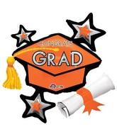 "31"" Jumbo Congrats Grad Orange Cluster Balloon"