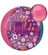 "16"" Orbz Jumbo Dainty Floral Happy Birthday Packaged"