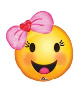 "18"" Happy Emoji wtih Bow Balloon Packaged"