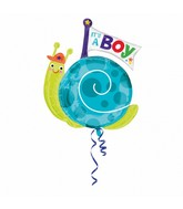 Jumbo It's a Boy Snail Balloon Packaged