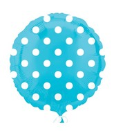 "18"" Caribbean Blue Dots Balloon Packaged"