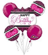 Bouquet Pink, Black, White Birthday Balloon Packaged
