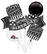 Bouquet Black & White Chalkboard Birthday Balloon Packaged