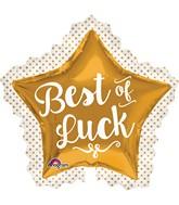 """34"""" Best of Luck Gold Star Balloon"""