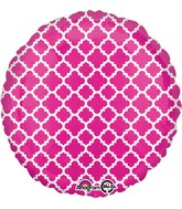 "18"" Pink and White quatrefoil Balloon"