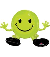 "19"" Airfill Only Happy Face Lime Green Balloon Packaged"