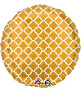 "18"" Gold and White Quatrefoil Balloon"