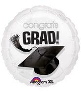 """18"""" Congrats Grad Balloon White"""