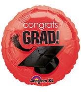 """18"""" Congrats Grad Balloon Red"""