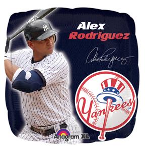 "18"" MLB NY Yankees Alex Rodriguez Lic. Mylar Balloon"