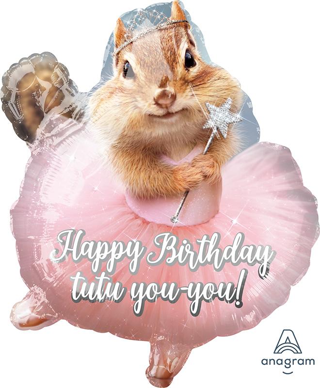 """19"""" Avanti Ballerina Birthday Chipmunk Balloon"""