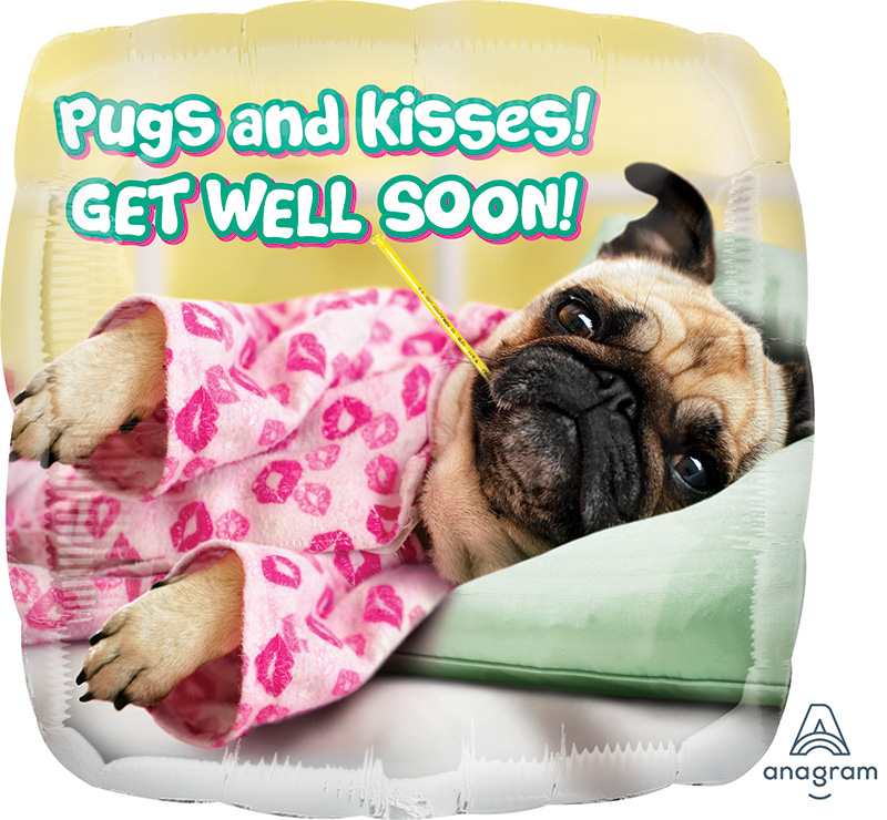 "17"" Avanti Get Well Pugs & Kisses Balloon"