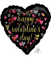 "18"" Happy Valentine's Day Sketchy Hearts Balloon"