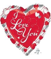 "28"" Love Red Heart & Silver Stripes Balloon"