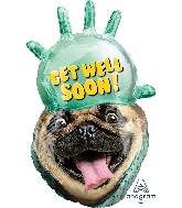 "32"" Avanti Get Well Pug Balloon"