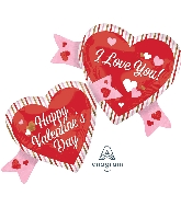 "38"" Happy Valentine's Day Double Hearts Balloon"