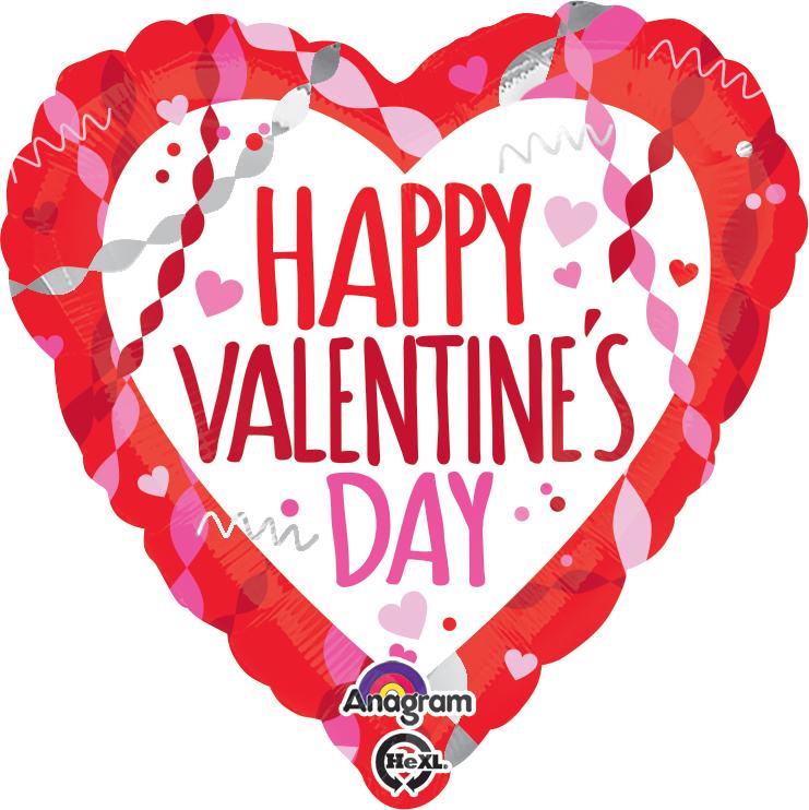 """18"""" Happy Valentine's Day Streamers & Confetti Balloon"""