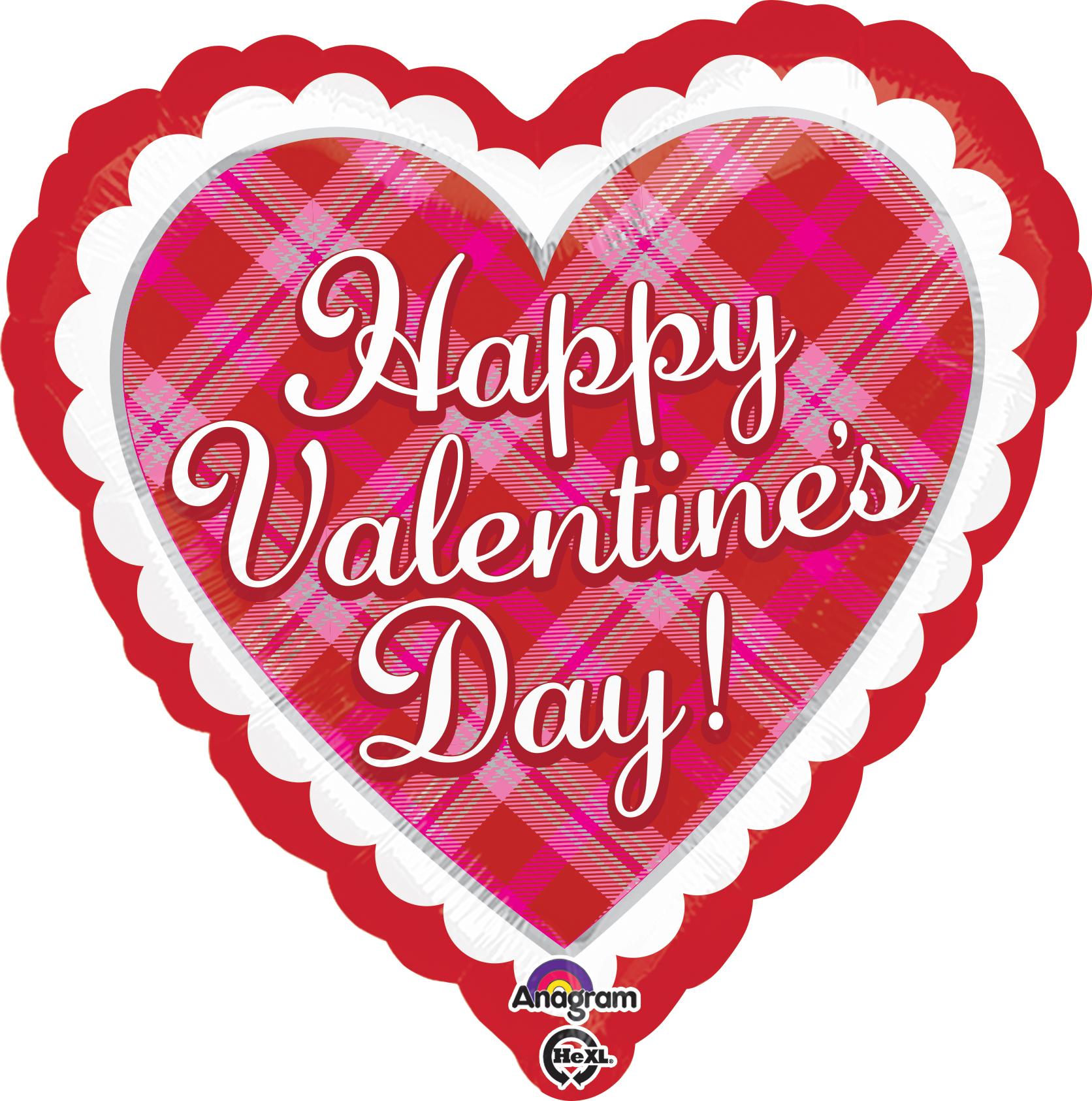"18"" Happy Valentine's Day Plaid Balloon"
