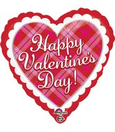 "18"" Happy Valentine's Day Plaid Balloon"