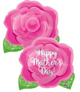 """18"""" Junior Shape Happy Mother's Day Pink Rose Balloon"""
