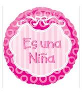 """18"""" Es Una Niña Pink Spanish Balloon"""