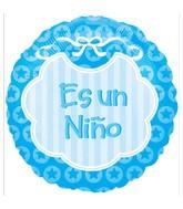 """18"""" Es Un Niño Blue Bib Spanish"""