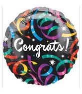 """18"""" Congrats Streamers Black Balloon"""