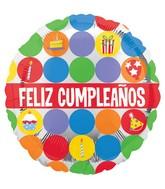 "18"" Feliz Cumpleanos Polka Icons Balloon"