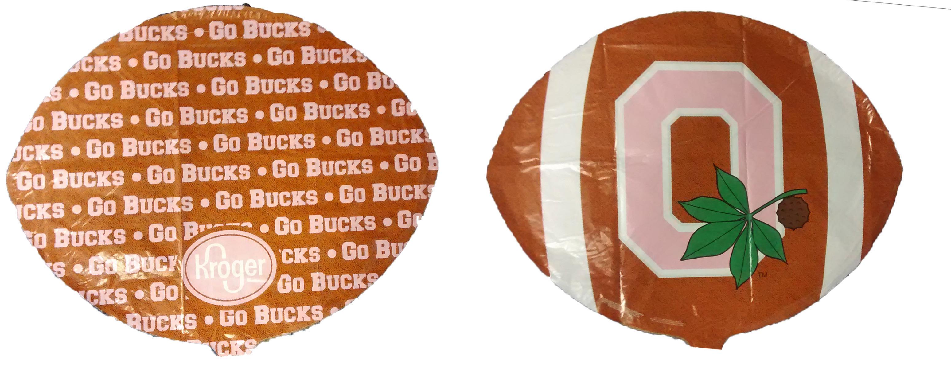 "18"" Go Bucks Pink Football Shaped Mylar Balloon"
