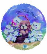 "18"" Get Well Soon Kittens Puppy Flower basket Foil Balloon"