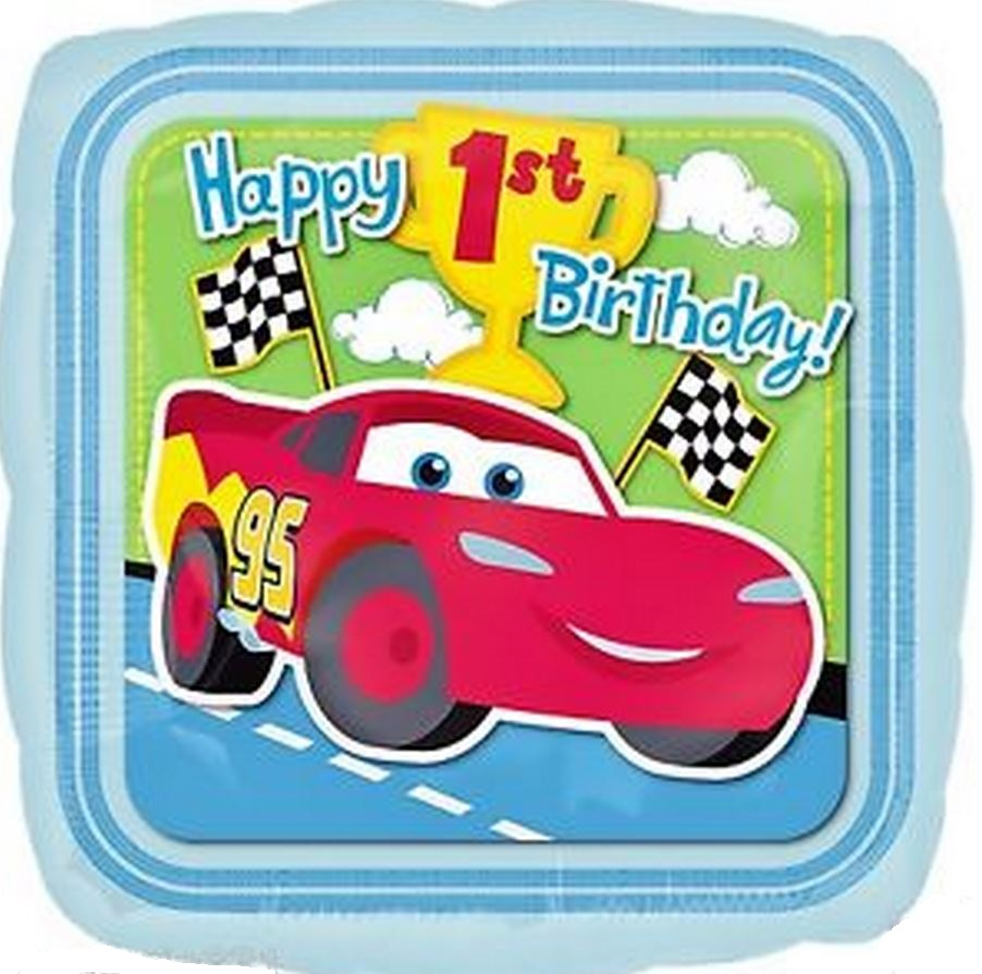 "18"" 1st Birthday Disney Cars Mylar Balloon"