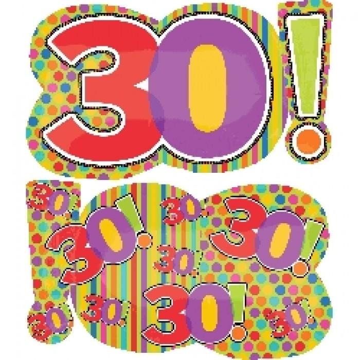 """29"""" Mylar Jumbo Number 30! Balloon"""