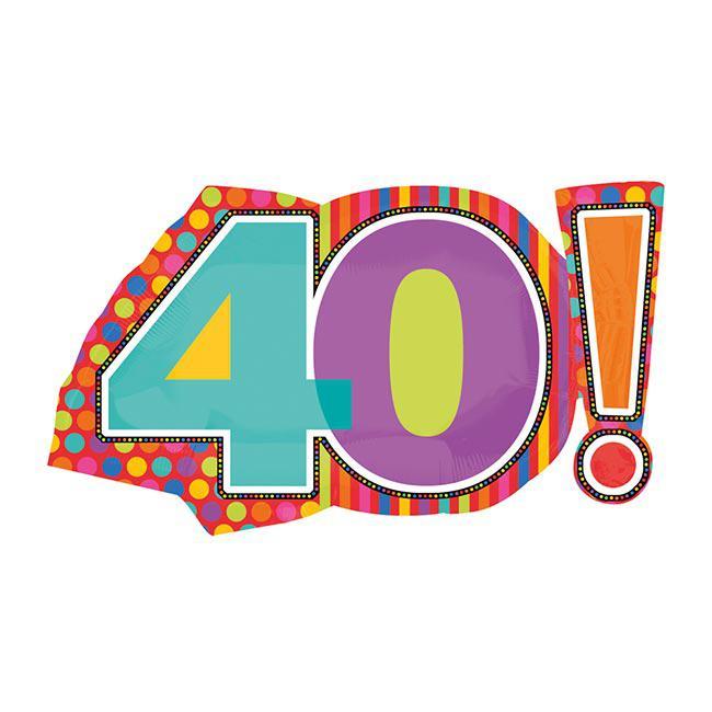 """29"""" Mylar Jumbo Number 40! Balloon"""