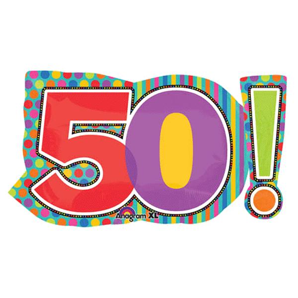 """29"""" Mylar Jumbo Number 50! Balloon"""