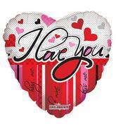 "18"" I Love You Balloon Lines & Hearts"